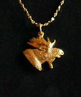 * Moose Gold ~ 24 kt Pendants + + + FREE 18 kt Chain * Made in The USA *