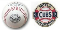 2016 WORLD SERIES CHICAGO CUBS CHAMPIONS RAWLINGS BASEBALL & PATCH DISPLAY CUBE
