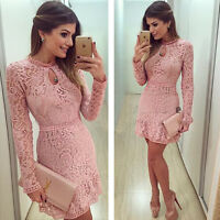 Women's Vintage Lace Round Neck Formal Wedding Cocktail Evening Party Dress
