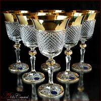 Bohemia Crystal Wine Glasses 20 cm, 220 ml, Versace Gold 6 pc New!