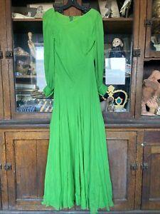 vintage galanos designer arsenic green maxi dress 1970's Silk Chiffon Evening