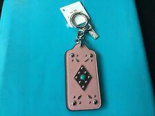 NWT COACH Western Rivets Pink Leather Hangtag/Charm/ Keychain/Keyfob #58490