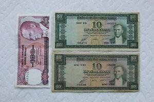 Turkey Banknotes, 10 Lira 1930, 10 Lira 1952, 100 Lira 1984