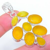 "Yellow Sapphire Gemstone Ethnic Jewelryr Jewelry Pendant 2.3"" AK-3407"