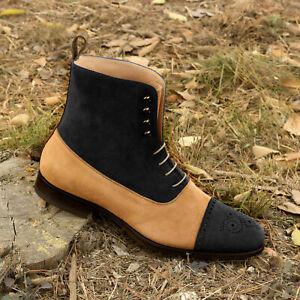 Handmade Men's Genuine Black, Beige Suede Toe cap Oxford Brogue Lace up Boots