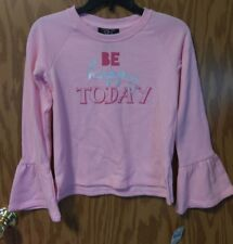 It's Our Time BE HAPPY TODAY Girls Sweatshirt S (6/6X) Small PINK Ruffle Sleeves