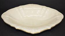 "Lenox Chadwick Centerpiece Bowl Serving Dish Cream w/Gold Trim 11"" x 8"" x 2"" USA"
