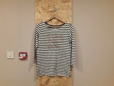Old Navy Black And White Striped Graphic Long Sleeved Top Size XS