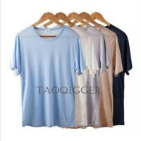 Silk Knitted T-Shirt Short Mens 100% Sleeve Casual Shirts Personalized Tee Solid