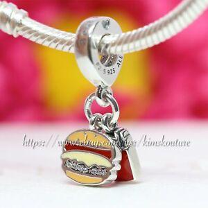 Authentic Pandora Burger & Fries Dangle Charm, Red, Golden Enamel 797211ENMX