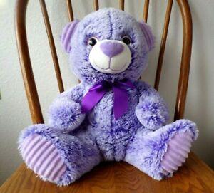 "New Toy Factory Plush Corduroy Bear  Purple w/Big Sparkle Eyes 16""  Large"