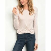 Cropped Top Blush Pink Long Sleeve Twist/Gathered Front Womens Small NWT