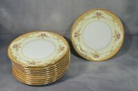 Set Of 11 VINTAGE Meito China DERBY 8'' Dessert Plates Gold Trim Ivory Floral