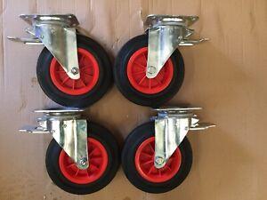 """200mm (8"""") Swivel Braked Castors -  set of 4pcs (615kg Load)"""