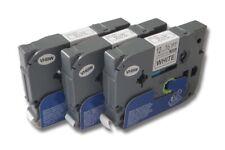 3x RUBAN CASSETTE pour Brother P-Touch 1000 / 1000BTS / 1005BTS / 1005F