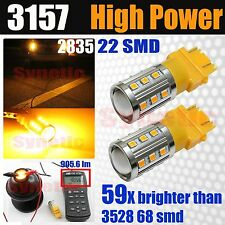 2x 3157/3456 Hi-Power 2835 Chip 900LM Amber Yellow LED Turn Signal Light Bulbs