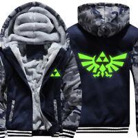 The Legend of Zelda Thicken Hoodie Camo Sweatshirt Zipper Jacket luminous Coat