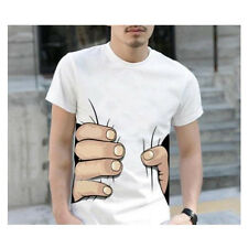Men White 3D Funny Catch You Big Hand Printed Cotton Soft Short Sleeve T-shirt