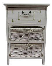 3 Drawer Maize Basket Wood Cupboard Unit Storage Bathroom Bedroom Sde/End Table