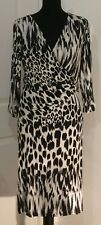 M&Co (bnwt) black & ivory animal print midi dress size 12