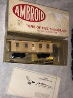 Ambroid HO CB&Q Dynamometer Car Partially Built Wood Craftsman Kit