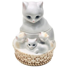 Cat & Kittens In A Basket Fine Ceramic Cookie Jar Biscuit Container Collectible