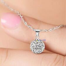 Women's 925 Sterling Silver chain crystal rhinestone Necklace Pendant New WT
