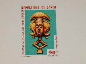 Vintage Stamp Card, REPUBLIC OF CONGO,Sunken Color Die Proof Card,1966, Festival