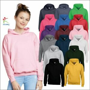 Gildan Kids Heavy Blend Plain Pullover Jumper Casual Thick Hooded Sweatshirts