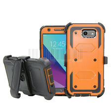 For Galaxy J3 Emerge / J3 2017 Rugged Shockproof Case Hard Armor Cover Belt Clip