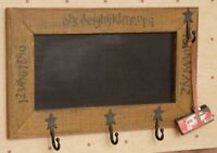 Country new ABC 123 Hanging wood framed Chalkboard w/Star hooks