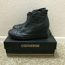 Converse Black Pleather Sneaker Wedge Size 5