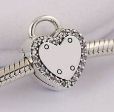 925 Sterling Silver Lock Your Promise Clip Fancy Fuchsia Pink CZ Logo Charm Bead