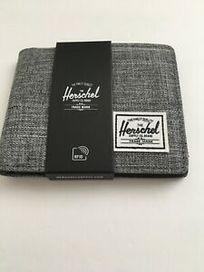 New Herschel Supply Men's Hank Designer Bi Fold Wallet RFID Protect Gray Flecks