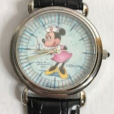 Disney Minnie Mouse Watch Nurse Artist Signed 2000 Used New Battery Leather Band