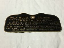 Harley WLA Military Data Plate Tank Nomenclature Tag 1942-43 OEM# 3531-40M