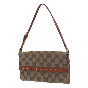 GUCCI Original GG Canvas Leather Pouch Hand Bag Brown Italy Authentic #XX695 O