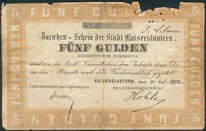 Rheinland-Pfalz Banknote Kaiserslautern 5 Gulden 1870, No.13, III-IV
