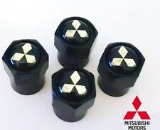 4 x Matt Black Tyre Valve Dust Caps (Fits MITSUBISHI)