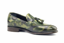 Handmade Men's Leather Camo Patina Loafers and Slip ons Custom made Shoes-900