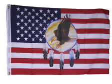 2x3 USA American Dreamcatcher Eagle Indian Native American Flag 2'x3' Banner