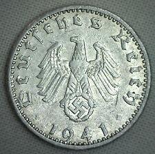 1941 A Aluminum German 50 Reichspfennig Third Reich Nazi Germany Coin XF #P