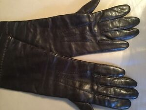 COACH Women's Gloves Cashmere Lined Leather-  size 7 - Dark Brown -Free Shipping