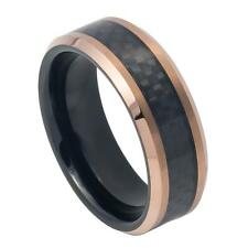 8mm Tungsten Ring, Personalized Engraved Rose Gold Plated Tungsten Wedding Ring,