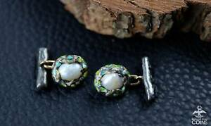 Art Nouveau Silver & Baroque Pearl Birds Nest Cufflinks