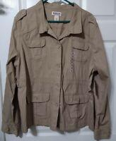 Women's Magellan's Light Jacket XXL Khaki Button up, Pockets, NWT