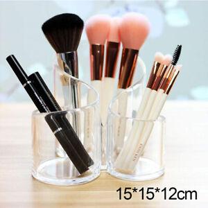 Clear Acrylic 3 Cylindrical Holder Brush Makeup Cosmetic Organizer UK Seller