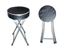 BLACK ROUND FOLDING STOOL SEAT SOFT PADDED FOLDABLE CHAIR KITCHEN STOOLS NEW