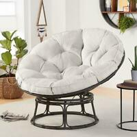Papasan Chair With Cushion Modern Living Room Bedroom Seat Bowl Steel Frame Gray