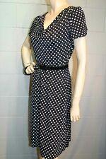 Vintage 1970s S Fit Flare Dress B/W Polka Dot Knit Draped Neck Flutter Sleeve